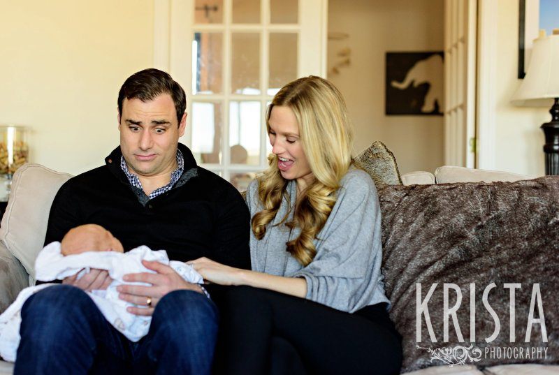Newborn baby boy family lifestyle portrait session in home