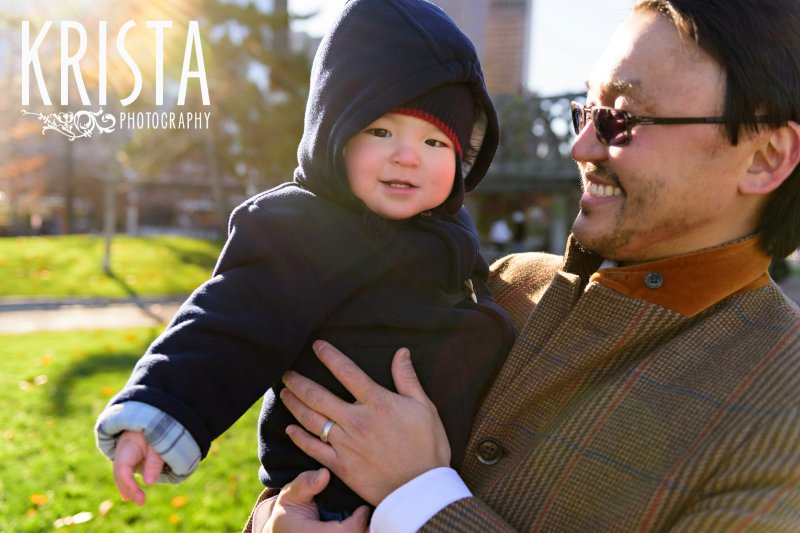 Downtown Boston fall family portrait session with baby boy