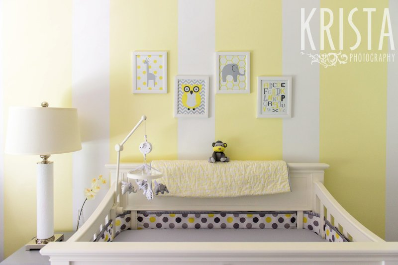 yellow white and gray baby nursery from lifestyle newborn baby family portrait session