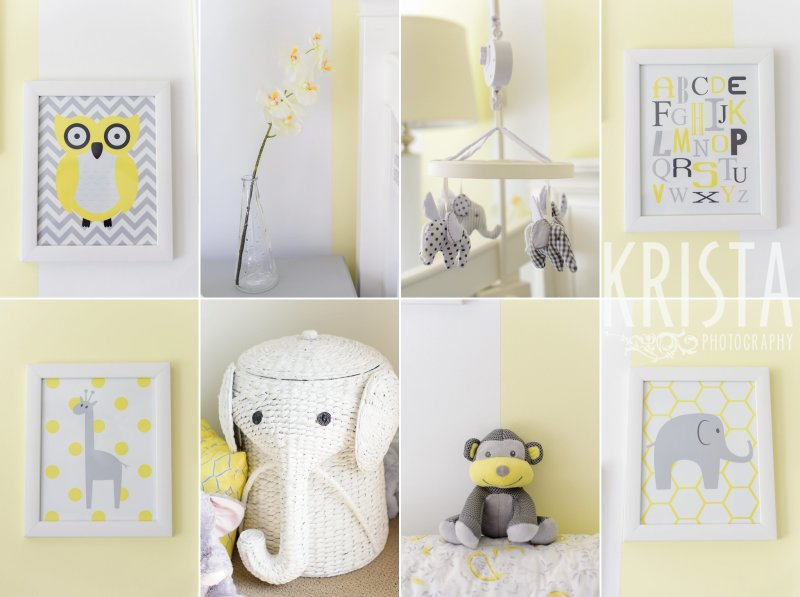 elephant monkey giraffe owl decorations in yellow white gray nursery lifestyle family portrait session