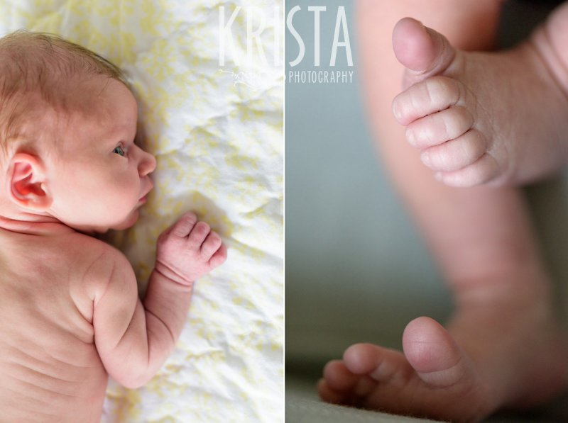 naked newborn baby girl profile and adorable little toes in yellow white and gray nursery