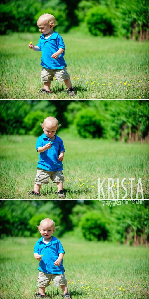 toddler boy in blue collared shirt walking in field surrounded by green trees during mini portrait sessions in springtime in New England
