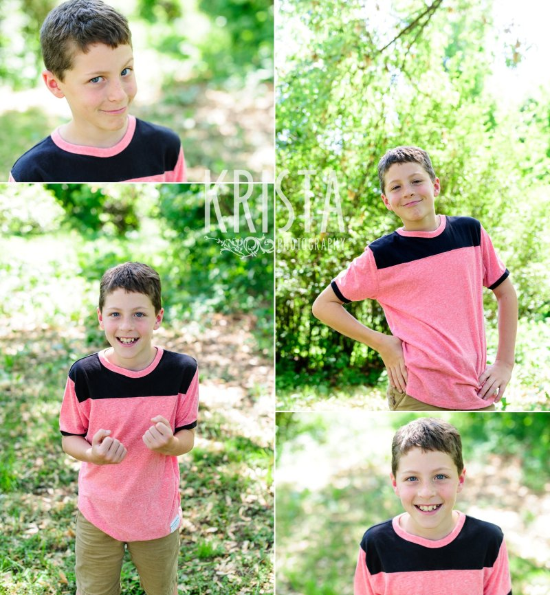 many expressions of adolescent boy among green trees during springtime mini portrait session in New England
