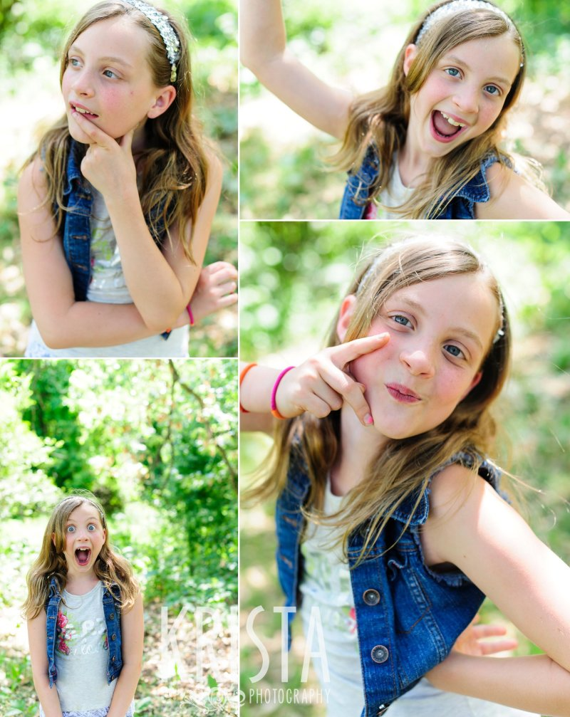 many expressions of young girl among green trees during springtime mini portrait session in New England