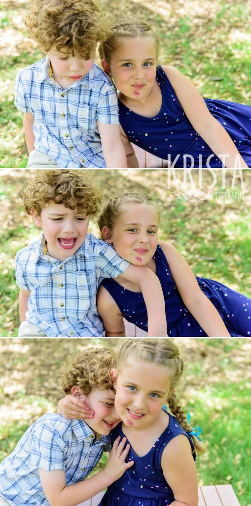 brother and sister trying to vie for space on wooden bench during springtime mini portrait sessions in New England