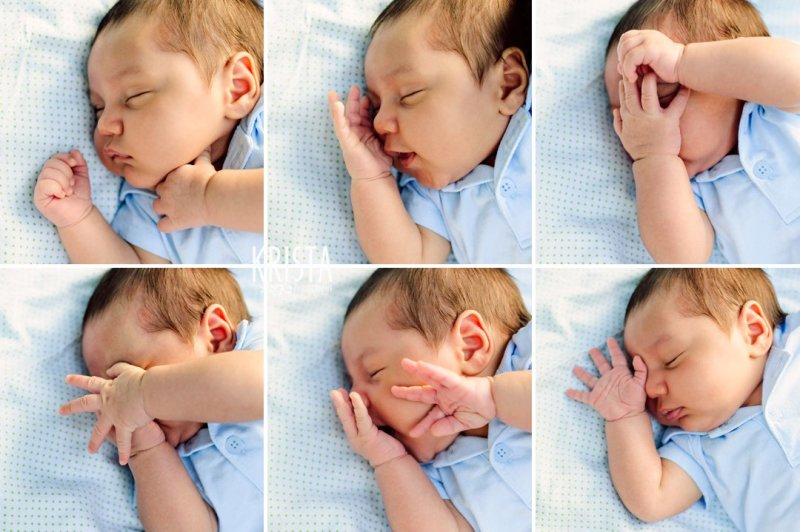 many expressions of newborn baby boy during outdoor lifestyle portrait session at home