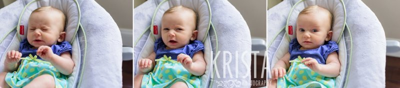 three month old baby girl in bouncy chair sneezing during lifestyle portrait session at home
