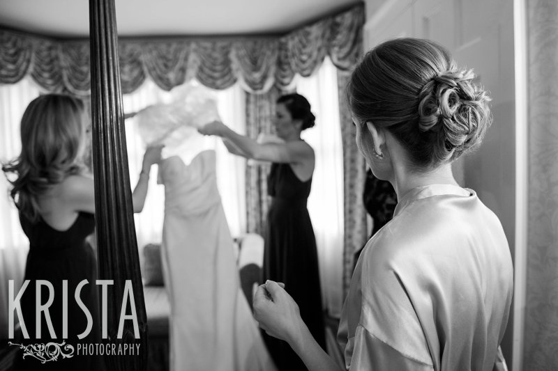 Getting Ready and Bride & Groom portraits on Beacon Hill, ceremony at Harvard Memorial Church, and reception at the Harvard Art Museums. Photo by Krista Photography, Boston Wedding Photographers. Wedding Dress.