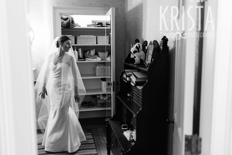 Getting Ready and Bride & Groom portraits on Beacon Hill, ceremony at Harvard Memorial Church, and reception at the Harvard Art Museums. Photo by Krista Photography, Boston Wedding Photographers. Wedding Dress