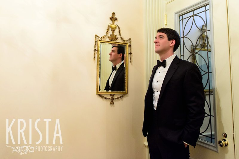 First Look, Groom waiting for his bride. Getting Ready and Bride & Groom portraits on Beacon Hill, ceremony at Harvard Memorial Church, and reception at the Harvard Art Museums. Photo by Krista Photography, Boston Wedding Photographers