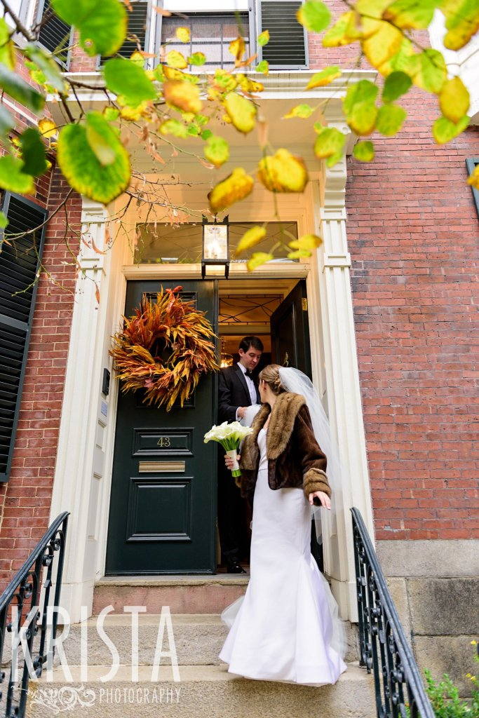 Getting Ready and Bride & Groom portraits on Beacon Hill, ceremony at Harvard Memorial Church, and reception at the Harvard Art Museums. Photo by Krista Photography, Boston Wedding Photographers