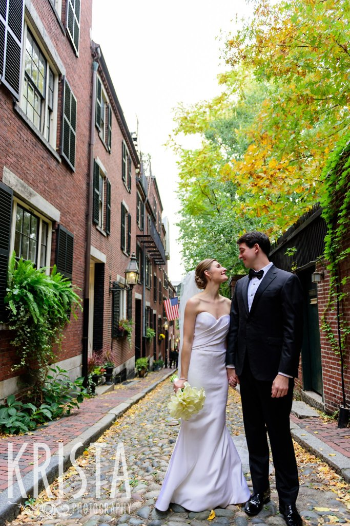 Bride & Groom Portrait on Acorn Street. Elegant Boston Wedding. Getting Ready and Bride & Groom portraits on Beacon Hill, ceremony at Harvard Memorial Church, and reception at the Harvard Art Museums. © Krista Photography, Boston Wedding Photographers