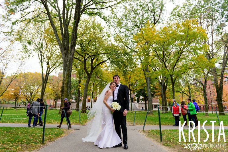 Bride & Groom Portrait in Harvard Yard. Elegant Boston Wedding. Getting Ready and Bride & Groom portraits on Beacon Hill, ceremony at Harvard Memorial Church, and reception at the Harvard Art Museums. © Krista Photography, Boston Wedding Photographers