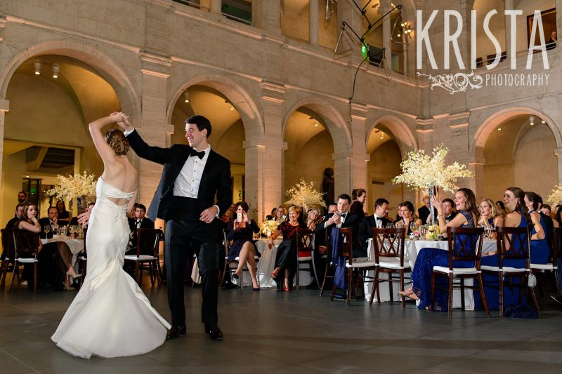 First Dance. Elegant Boston Wedding. Getting Ready and Bride & Groom portraits on Beacon Hill, ceremony at Harvard Memorial Church, and reception at the Harvard Art Museums. © Krista Photography, Boston Wedding Photographers