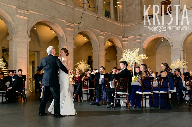 Father Daughter Dance, Parent Dances. Elegant Boston Wedding. Getting Ready and Bride & Groom portraits on Beacon Hill, ceremony at Harvard Memorial Church, and reception at the Harvard Art Museums. © Krista Photography, Boston Wedding Photographers