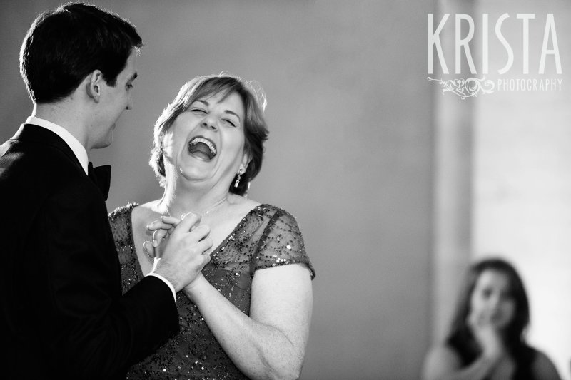 Mother Son Dance, Parent Dances. Elegant Boston Wedding. Getting Ready and Bride & Groom portraits on Beacon Hill, ceremony at Harvard Memorial Church, and reception at the Harvard Art Museums. © Krista Photography, Boston Wedding Photographers