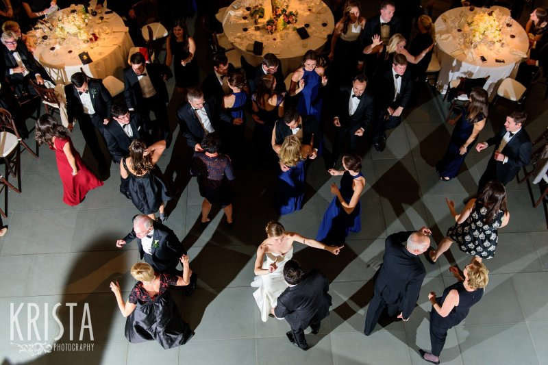 Dance Floor. Elegant Boston Wedding. Getting Ready and Bride & Groom portraits on Beacon Hill, ceremony at Harvard Memorial Church, and reception at the Harvard Art Museums. © Krista Photography, Boston Wedding Photographers