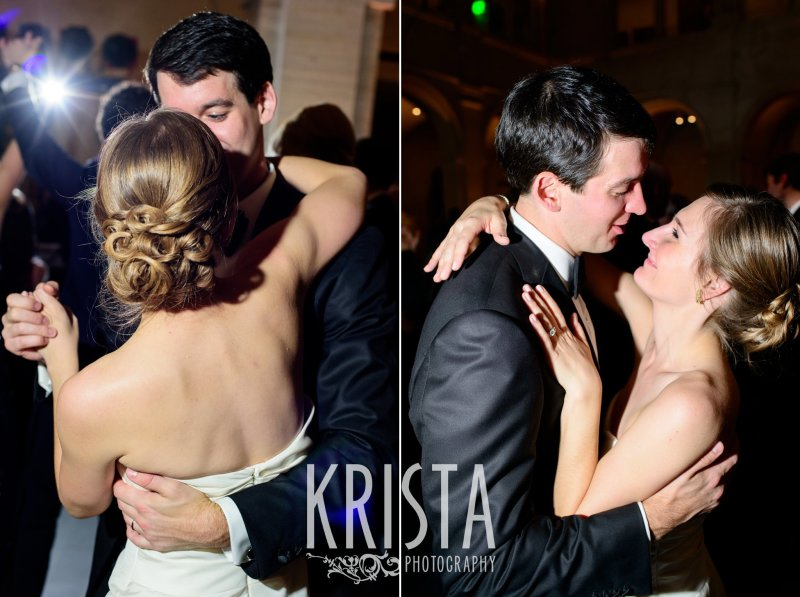 Bride & Groom Dancing at Reception. Elegant Boston Wedding. Getting Ready and Bride & Groom portraits on Beacon Hill, ceremony at Harvard Memorial Church, and reception at the Harvard Art Museums. © Krista Photography, Boston Wedding Photographers