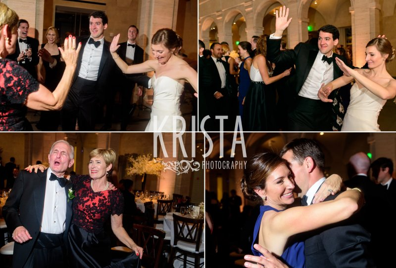 Reception Dancing. Elegant Boston Wedding. Getting Ready and Bride & Groom portraits on Beacon Hill, ceremony at Harvard Memorial Church, and reception at the Harvard Art Museums. © Krista Photography, Boston Wedding Photographers