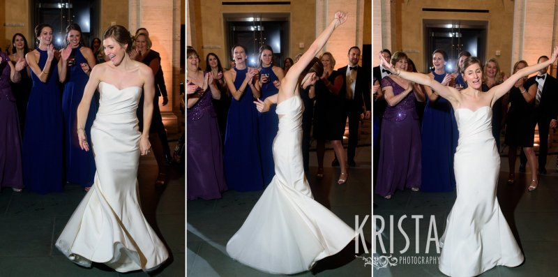 Bride dancing, having a blast at her reception. Elegant Boston Wedding. Getting Ready and Bride & Groom portraits on Beacon Hill, ceremony at Harvard Memorial Church, and reception at the Harvard Art Museums. © Krista Photography, Boston Wedding Photographers