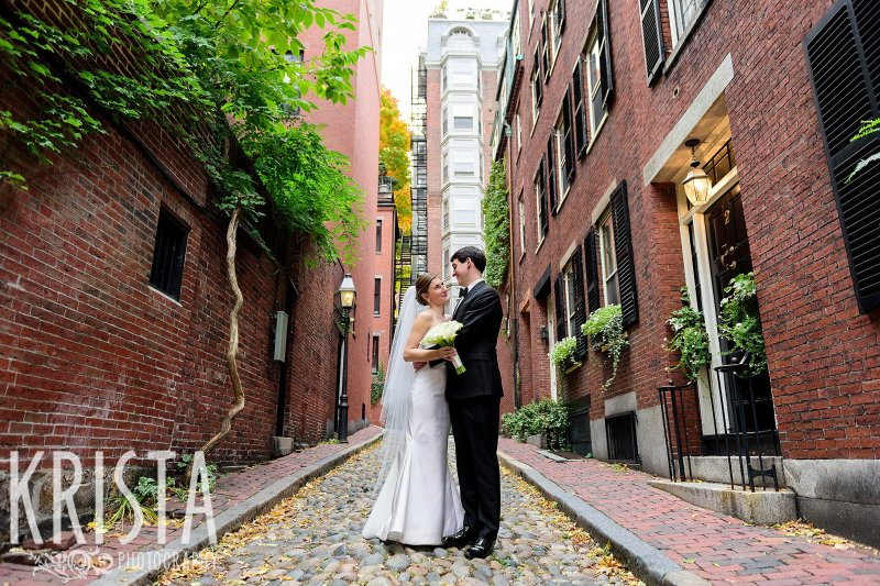 Bride & Groom laughing on Acorn Street. Getting Ready and Bride & Groom portraits on Beacon Hill, ceremony at Harvard Memorial Church, and reception at the Harvard Art Museums. Photo by Krista Photography, Boston Wedding Photographer