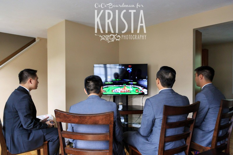 groomsmen prepping with video games © Krista Photography
