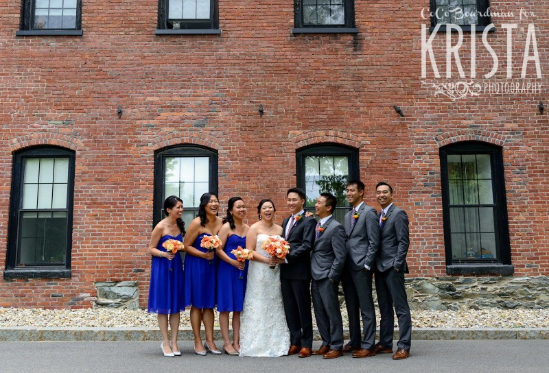 bridal portraits in front of brick wall © Krista Photography