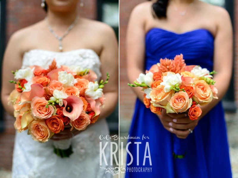 bride and her bridesmaid's bouquets © Krista Photography