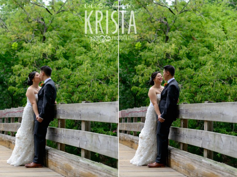 bride and groom being romantic on the bridge © Krista Photography