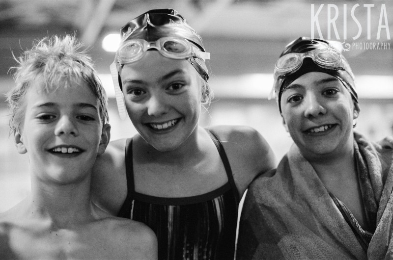 The kids' first swim meet. Shot on black & white film. Photo by Krista Guenin | Krista Photography