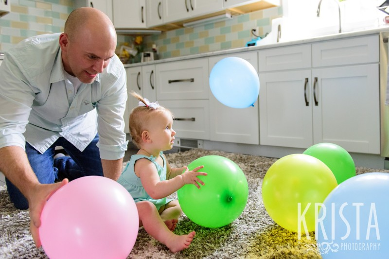 Baby Girl, Year in the Life, Happy Baby, Smiles, Party, Daddy and Daughter, © Krista Photography, Boston Photographer