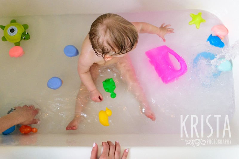 Baby Girl, Year in the Life, Happy Baby, Tub Time, © Krista Photography, Boston Photographer