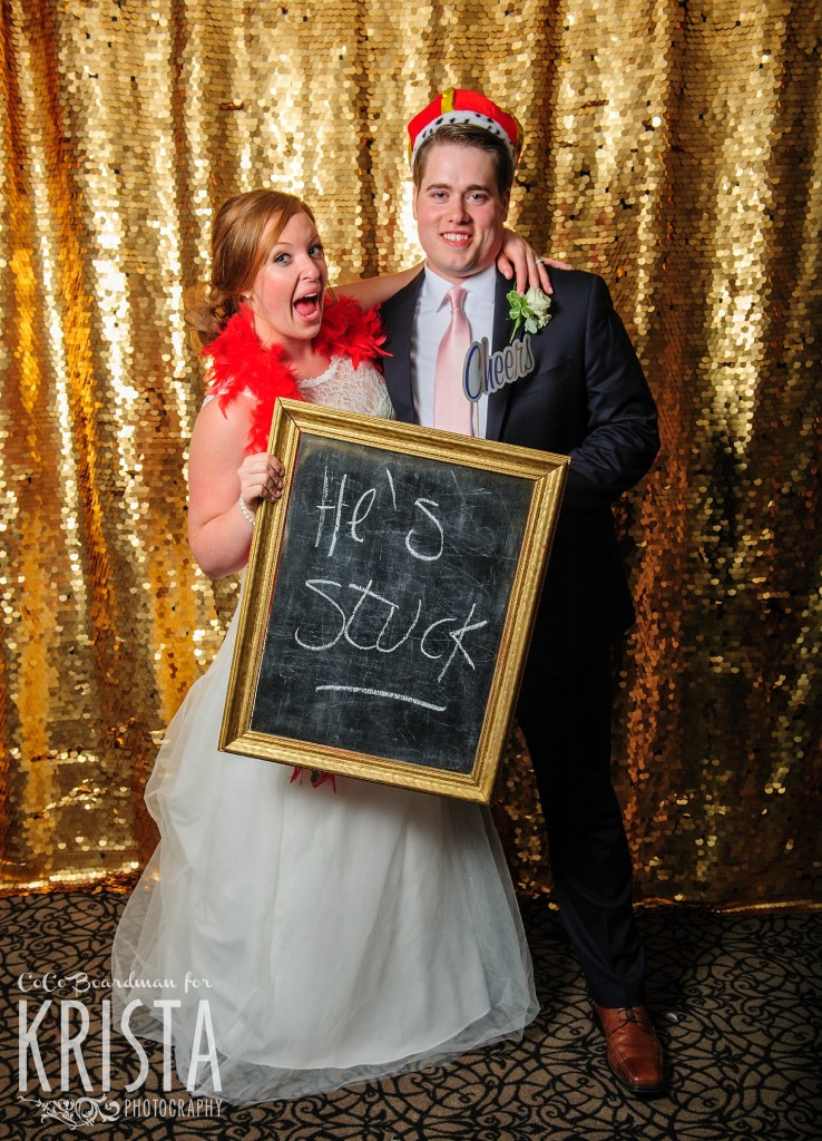 Photo Booth with gold sequined backdrop, Funky props, © Krista Photography, Boston Wedding Photographers