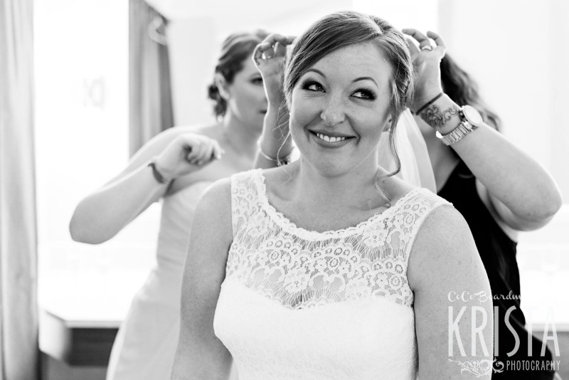 Beautiful bride getting ready with her ladies - Manchester Country Club Wedding