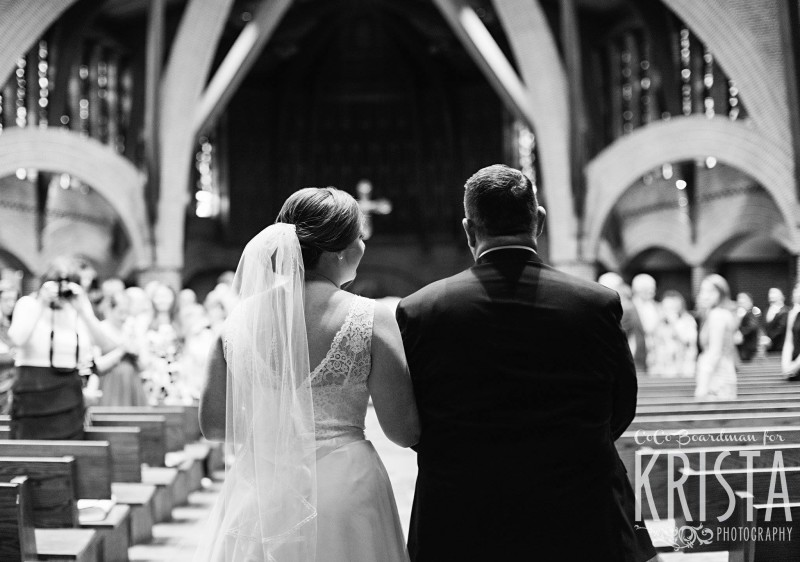 Bride walking down the aisle with her dad - Manchester Country Club Wedding