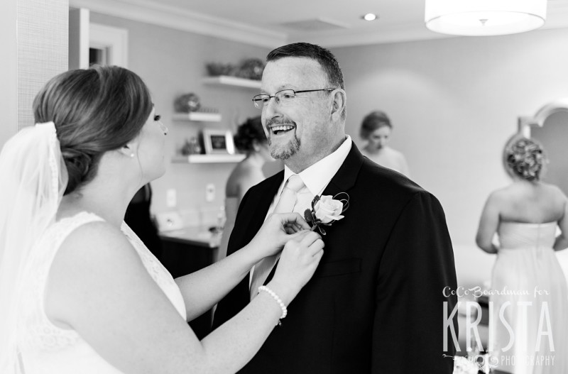 Bride and her proud father getting ready for the day at the Manchester Country Club. © 2016 Krista Photography - www.kristaphoto.com