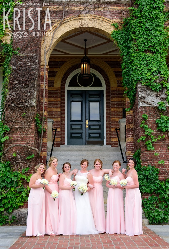 The bride and her bridesmaids giggling away at St. Anselm College. © 2016 Krista Photography - www.kristaphoto.com