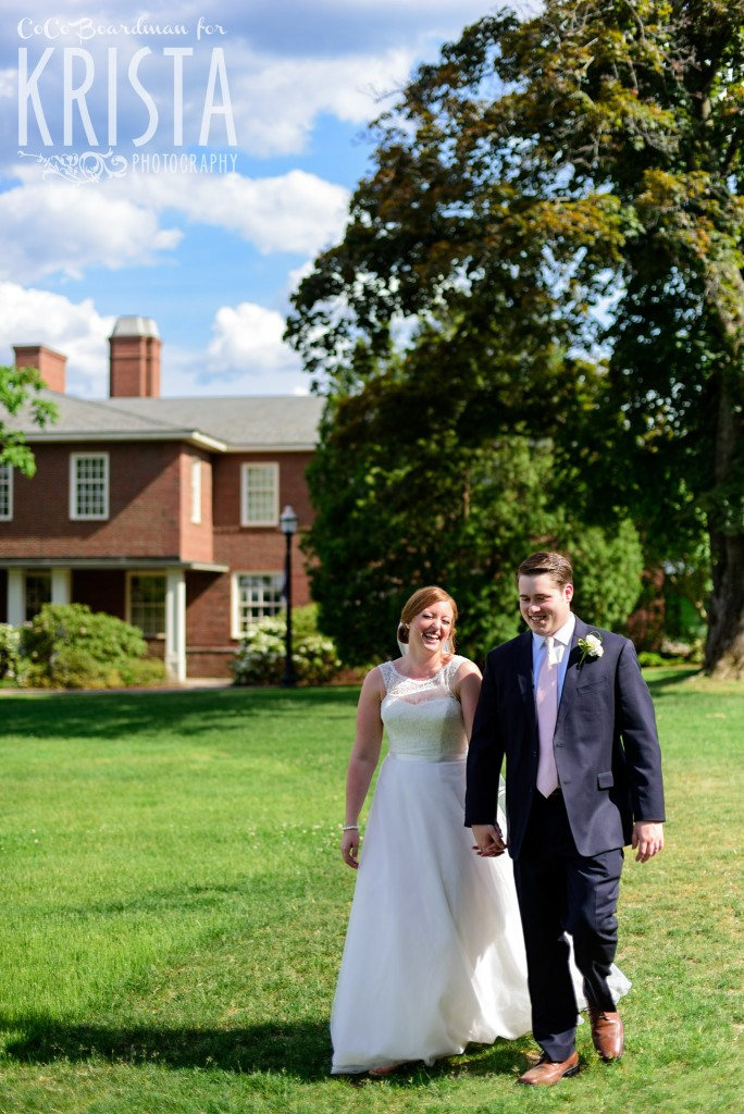 Enjoying the beautiful sunshine with the bride and groom at St. Anselm College. © 2016 Krista Photography - www.kristaphoto.com