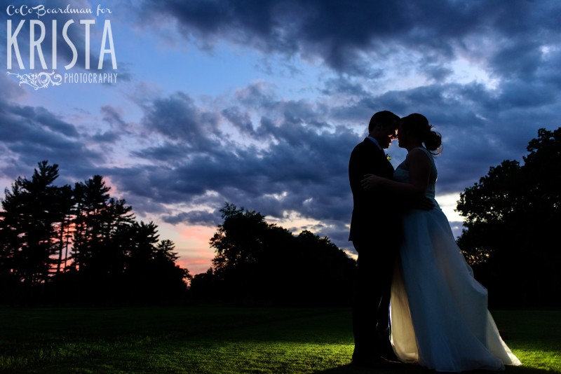 Bride and Groom having a moment alone after the sunset. © 2016 Krista Photography - www.kristaphoto.com