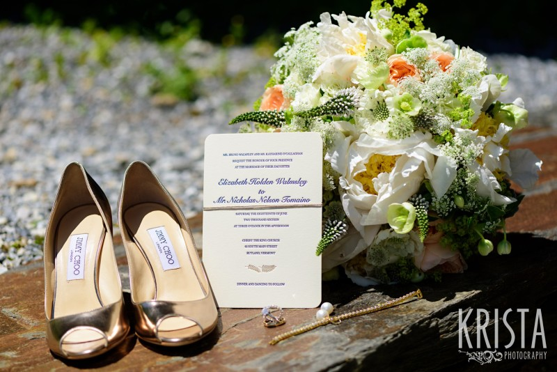 Gold metallic leather peep toe pumps by Jimmy Choo, Invitations & Flowers by Clare Frances Events. Mountain Top Inn Wedding - Vermont Wedding Photography by © Krista Photography - www.kristaphoto.com