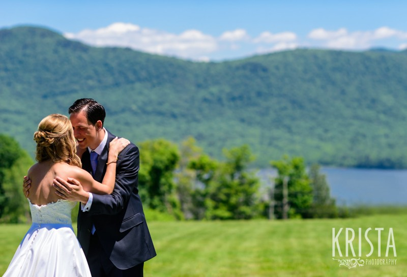 Bride & Groom's First Look - Mountain Top Inn, Vermont.  Vermont Wedding Photography. © Krista Photography - www.kristaphoto.com