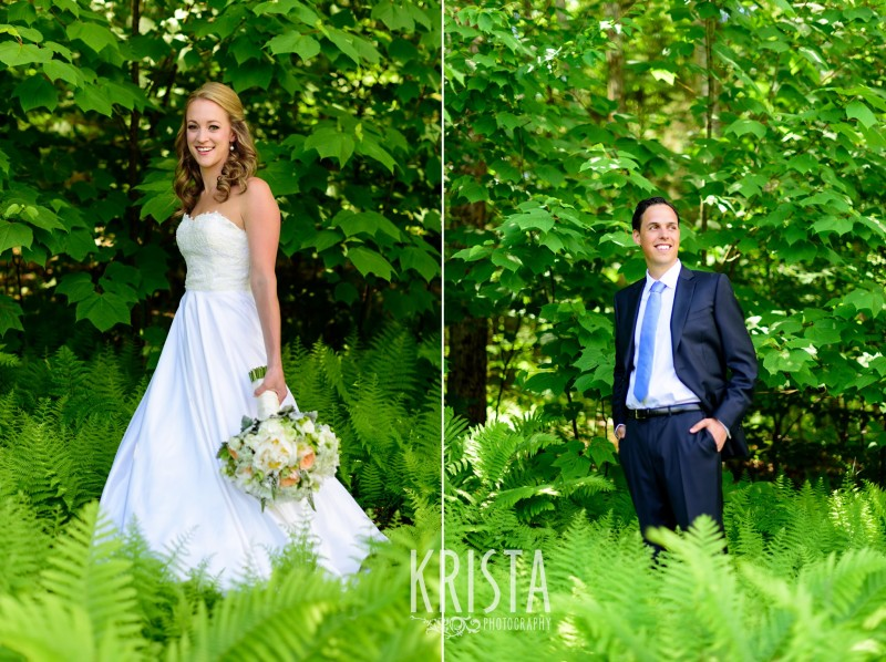 bride and groom in the woods Mountain Top Inn Wedding - Vermont Wedding Photography by © Krista Photography - www.kristaphoto.com