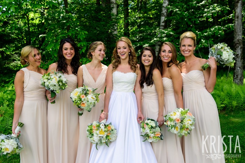 Bridesmaids in blush with white and peach flowers - Mountain Top Inn, Vermont.  Vermont Wedding Photographer.  © Krista Photography - www.kristaphoto.com
