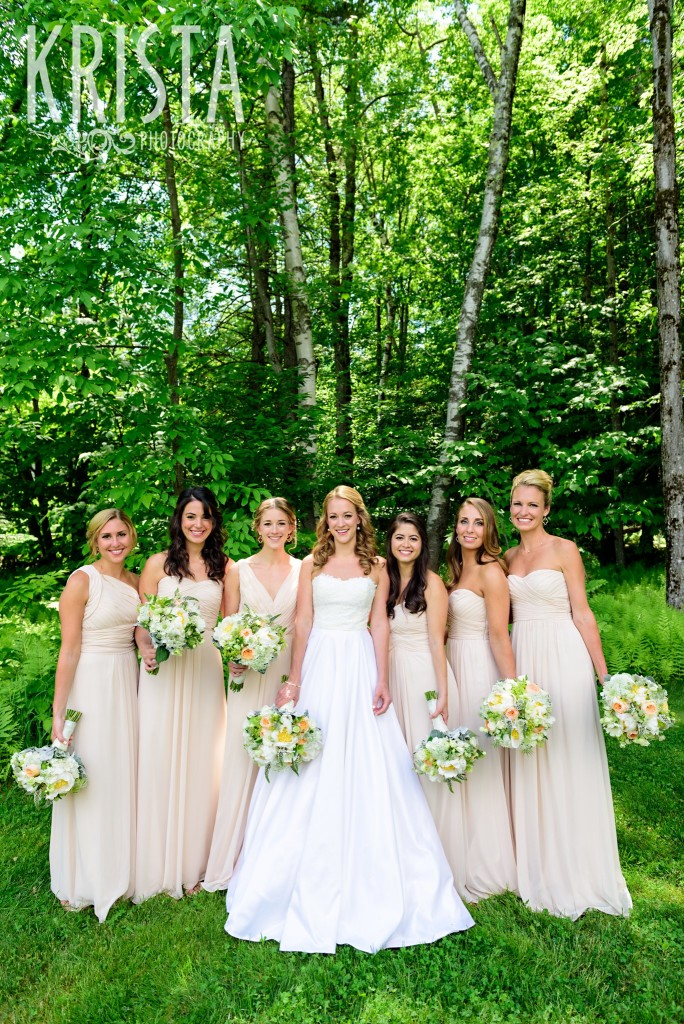 Bridesmaids in blush Monique Lhuillier dresses with soft florals by Clare Frances Events. Mountain Top Inn Wedding - Vermont Wedding Photography by © Krista Photography - www.kristaphoto.com