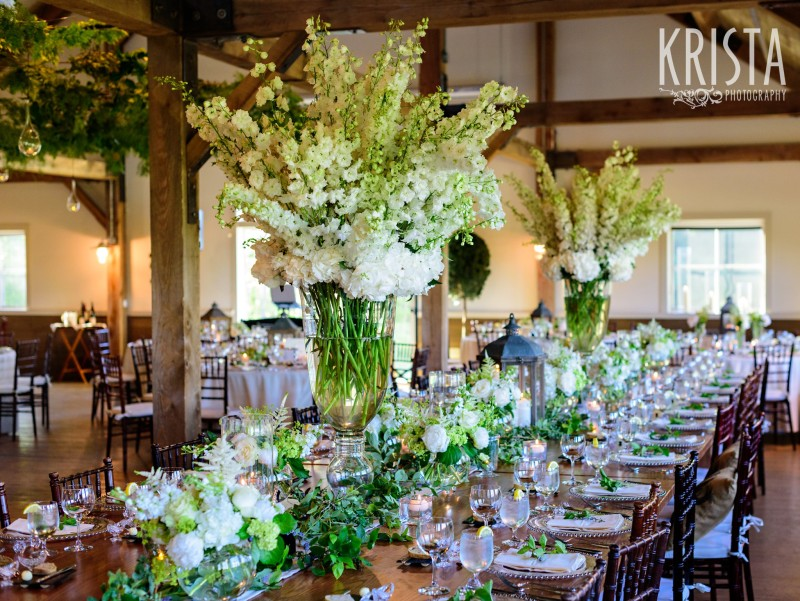 Beautiful tables, gorgeous flowers & lantern centerpieces by Clare Frances Events. Mountain Top Inn Wedding - Vermont Wedding Photography by © Krista Photography - www.kristaphoto.com