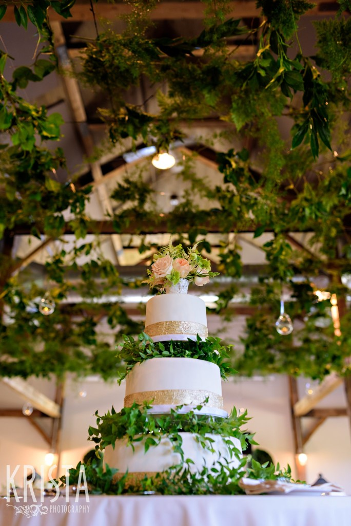 Wedding cake from Lulu Cake Boutique, gorgeous greenery canopy by Clare Frances Events. Mountain Top Inn Wedding - Vermont Wedding Photography by © Krista Photography - www.kristaphoto.com