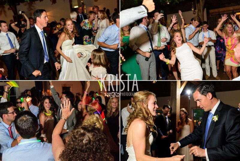 bride and groom dancing with guests, party © Krista Photography - www.kristaphoto.com