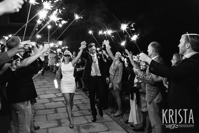 Sparkler Exit, bride in reception dress & trucker hat. Mountain Top Inn Wedding - Vermont Wedding Photography by © Krista Photography - www.kristaphoto.com