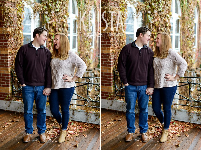 cute couple smiling, laughing, and goofing around during session at St. Anselm College - Saint Anselm Engagement