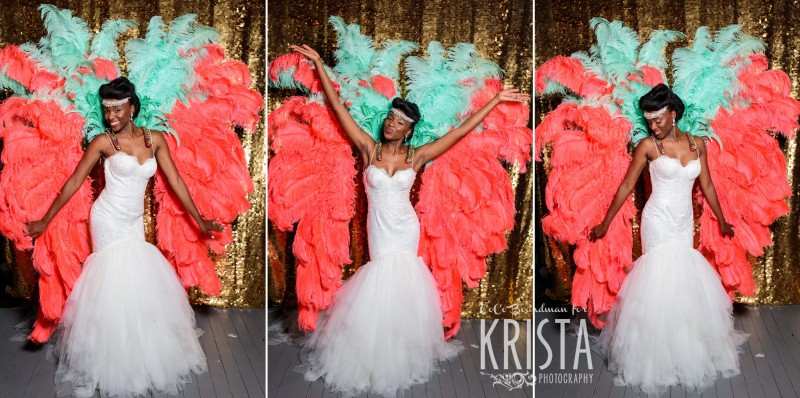The bride in bright feathered props
